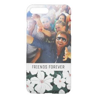 Motif de fleurs tropical blanc fait sur commande coque iPhone 7 plus