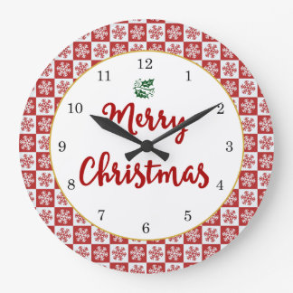 Motif de flocon de neige de Noël rouge et blanc Grande Horloge Ronde