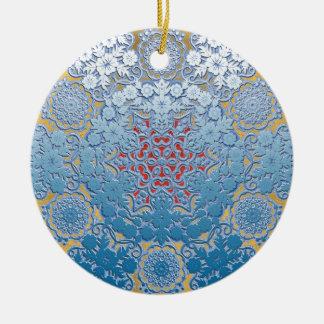 motif de flocon de neige ornement rond en céramique
