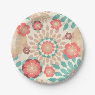 Motif de floraison de fleurs chaudes animées de assiettes en papier