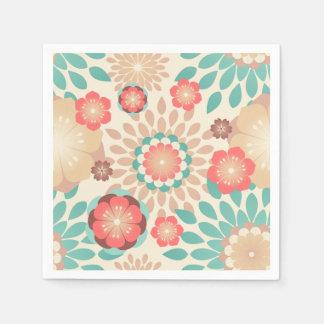 Motif de floraison de fleurs chaudes animées de serviette en papier