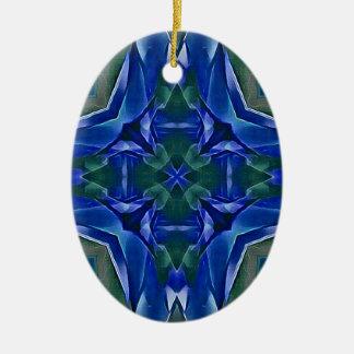 Motif de forme de croix de bleu assez royal ornement ovale en céramique