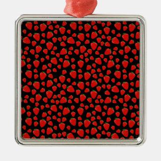 Motif de fraise ornement carré argenté