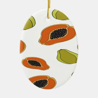Motif de fruit de papaye ornement ovale en céramique