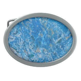 Motif de gemme, granit bleu boucle de ceinture ovale