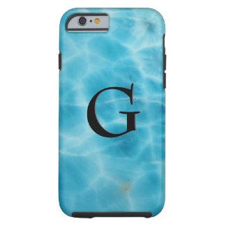 Motif de gemme, Larimar bleu et onyx noir Coque Tough iPhone 6