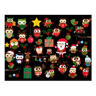 Motif de hibou de Noël Cartes Postales