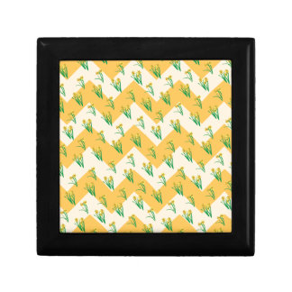 Motif de jonquilles petite boîte à bijoux carrée
