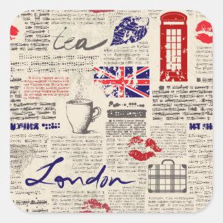 Motif de journal de Londres Sticker Carré