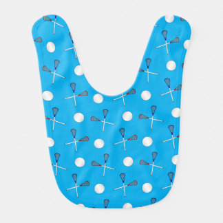 Motif de lacrosse de bleu de ciel bavoir de bébé