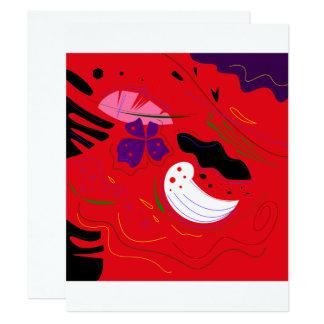 Motif de luxe de mode : Rouge de la Bolivie, noir Carton D'invitation 10,79 Cm X 13,97 Cm