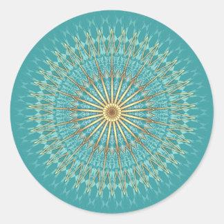 Motif de mandala d'or de turquoise sticker rond