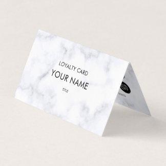 Motif de marbre blanc élégant de fidélité carte de visite