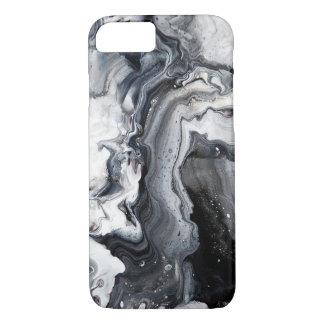 Motif de marbre moderne gris noir à peine là coque iPhone 7