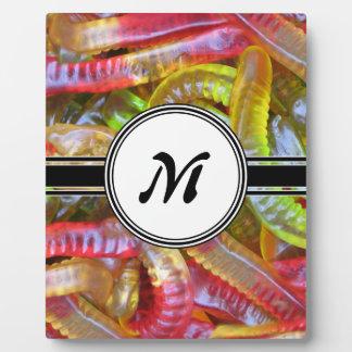 Motif de monogramme de bonbons à Gummie de Plaque Photo