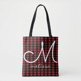 motif de monogramme rougeâtre de beauté de lèvres sac