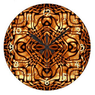 Motif de mosaïque africain jaune orange brûlé de grande horloge ronde