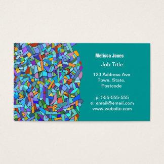 Motif de mosaïque bleu coloré abstrait cartes de visite