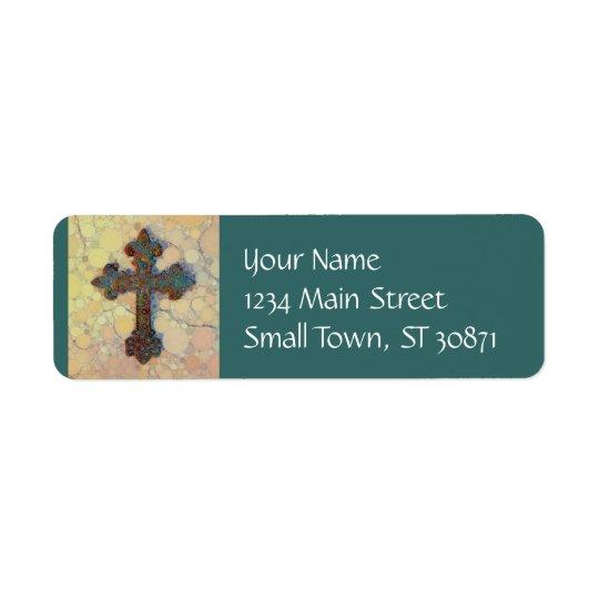 Motif de mosaïque croisé chrétien frais de cercle étiquette d'adresse retour