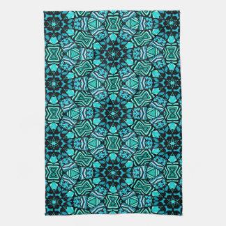 Motif de mosaïque oriental de rétro turquoise serviettes éponge
