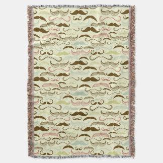 Motif de moustache, rétro style 4 couvre pied de lit