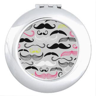 Motif de moustache, rétro style miroirs compacts