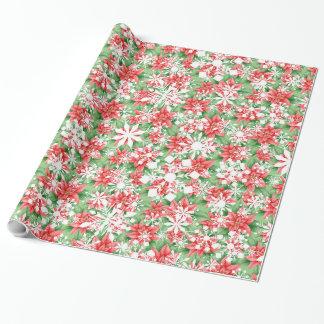Motif de Noël de flocons de neige de poinsettia Papiers Cadeaux Noël
