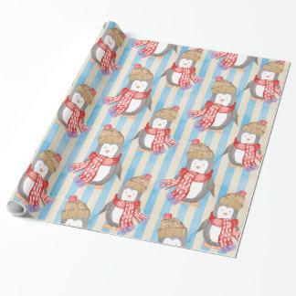 Motif de Noël de pingouin Papier Cadeau