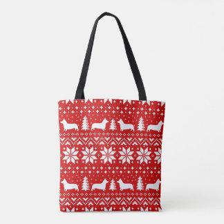 Motif de Noël de silhouettes de corgi de Gallois Tote Bag