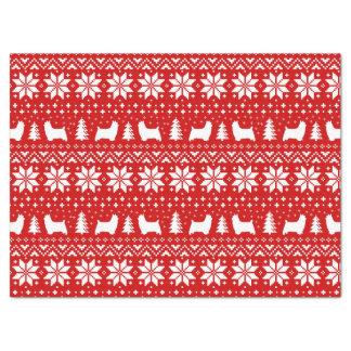 Motif de Noël de silhouettes de Terrier soyeux Papier Mousseline