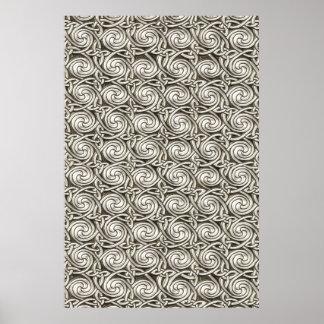 Motif de noeuds en spirale celtique argenté affiche