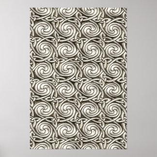 Motif de noeuds en spirale celtique argenté affiches