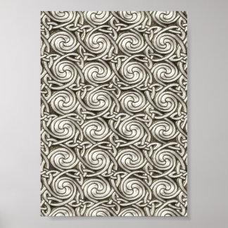 Motif de noeuds en spirale celtique argenté posters