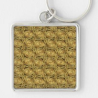 Motif de noeuds en spirale celtique d or brillant porte-clés