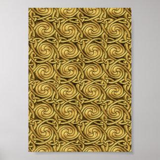 Motif de noeuds en spirale celtique d or brillant posters