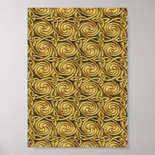 Motif de noeuds en spirale celtique d'or brillant posters