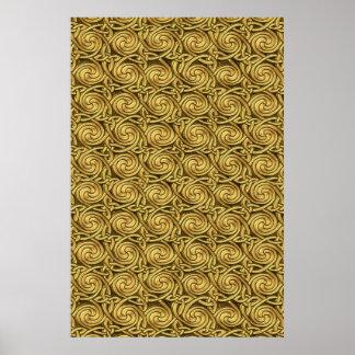 Motif de noeuds en spirale celtique d'or brillant