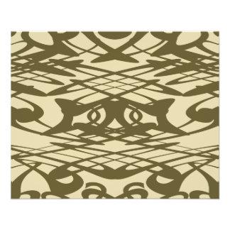 Motif de Nouveau d'art dans le beige et le Brown Prospectus 11,4 Cm X 14,2 Cm