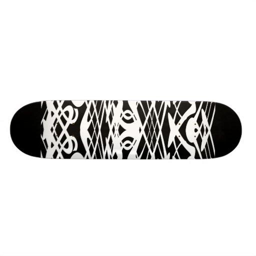 Motif de Nouveau d'art en noir et blanc. Planches À Roulettes Customisées