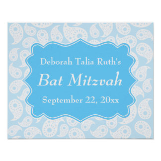 Motif de Paisley dans le bleu bat mitzvah Posters