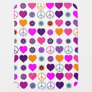 Motif de paix de coeur de flower power + votre couvertures pour bébé