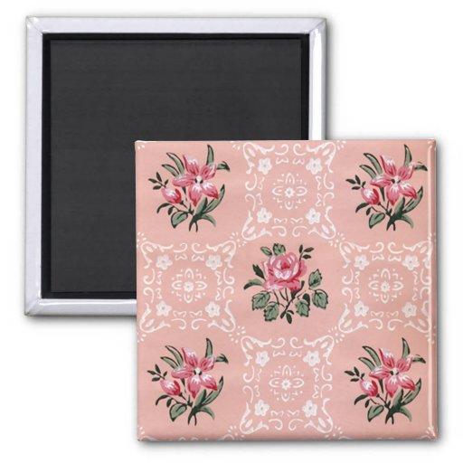 Motif de papier peint floral de rose de cru aimants