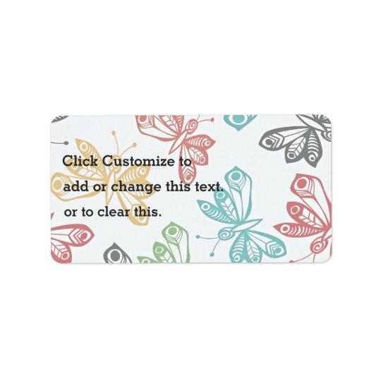 Motif de papillon coloré étiquette d'adresse