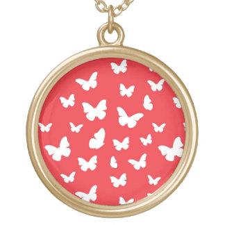 Motif de papillon pendentif rond