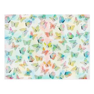 Motif de papillons adorable de peinture carte postale