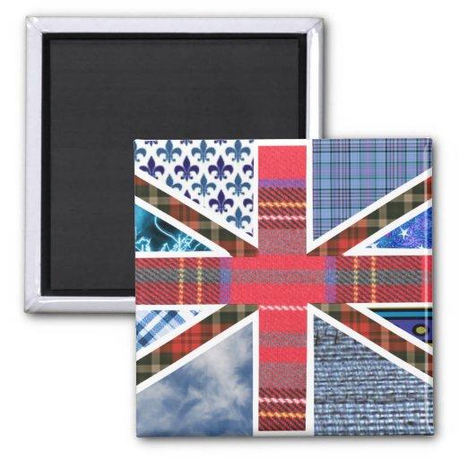 Motif de patchwork d'Union Jack Aimants Pour Réfrigérateur