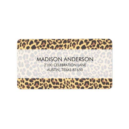 Motif de peau d'animal d'empreinte de léopard étiquettes d'adresse
