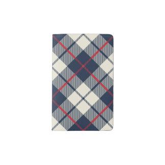 Motif de plaid de bleu marine protège-carnet de poche