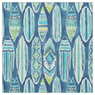 Motif de planche de surf de Tiki d'aquarelle de Tissu