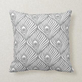 Coussins motif de plume paon - Coussin gris et blanc ...